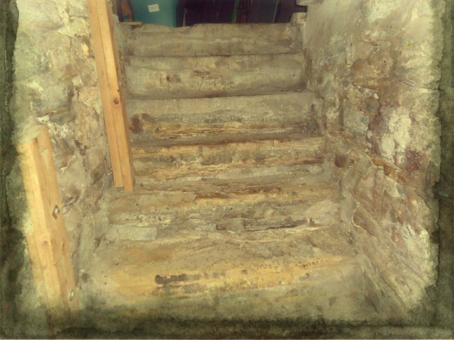 The steps leading out of the basement we spend the evening writing in.