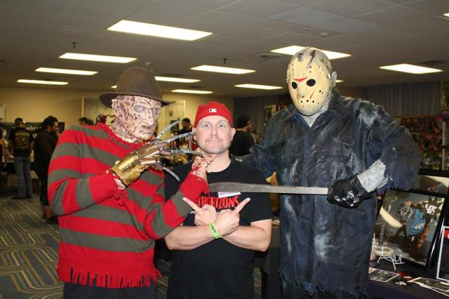 Sean looks properly worried when Freddy Kruger and Jason threaten to attack him.