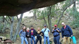"An image shot by Jay from inside the ""Manson Family Cave."" Natalie, Sean, Sammy, Jessica, Scott, Shawn and Josh."
